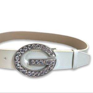 Guess Leather White Rhinestone Accents Belt